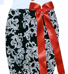 Personalized Baby Gown for Girls in Black Damask and Red Satin Ribbon