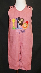 Personalized Boy's Safari Animals and Number Giraffe, Monkey and Lion