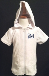 Personalized Boy's White Terry Coverup for the Beach or Pool