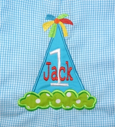 Personalized birthday hat boys outfit for his 1st, 2nd or 3rd birthday.