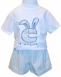 Personalized Bunny Monogram Boy's Outfit in Seersucker