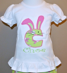 Personalized Bunny Monogram Girl's Outfit in Lime and Hot Pink