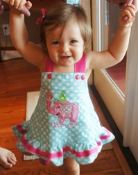Personalized Girl's Birthday Elephant and Cupcake Dress or Outfit