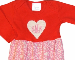 Personalized Heart Valentine Baby Gown in Michael Miller's Zillions of Hearts Fabric Matches Big Sister's Dress