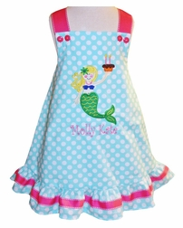 Personalized Mermaid Birthday and Cupcake Dress or Outfit