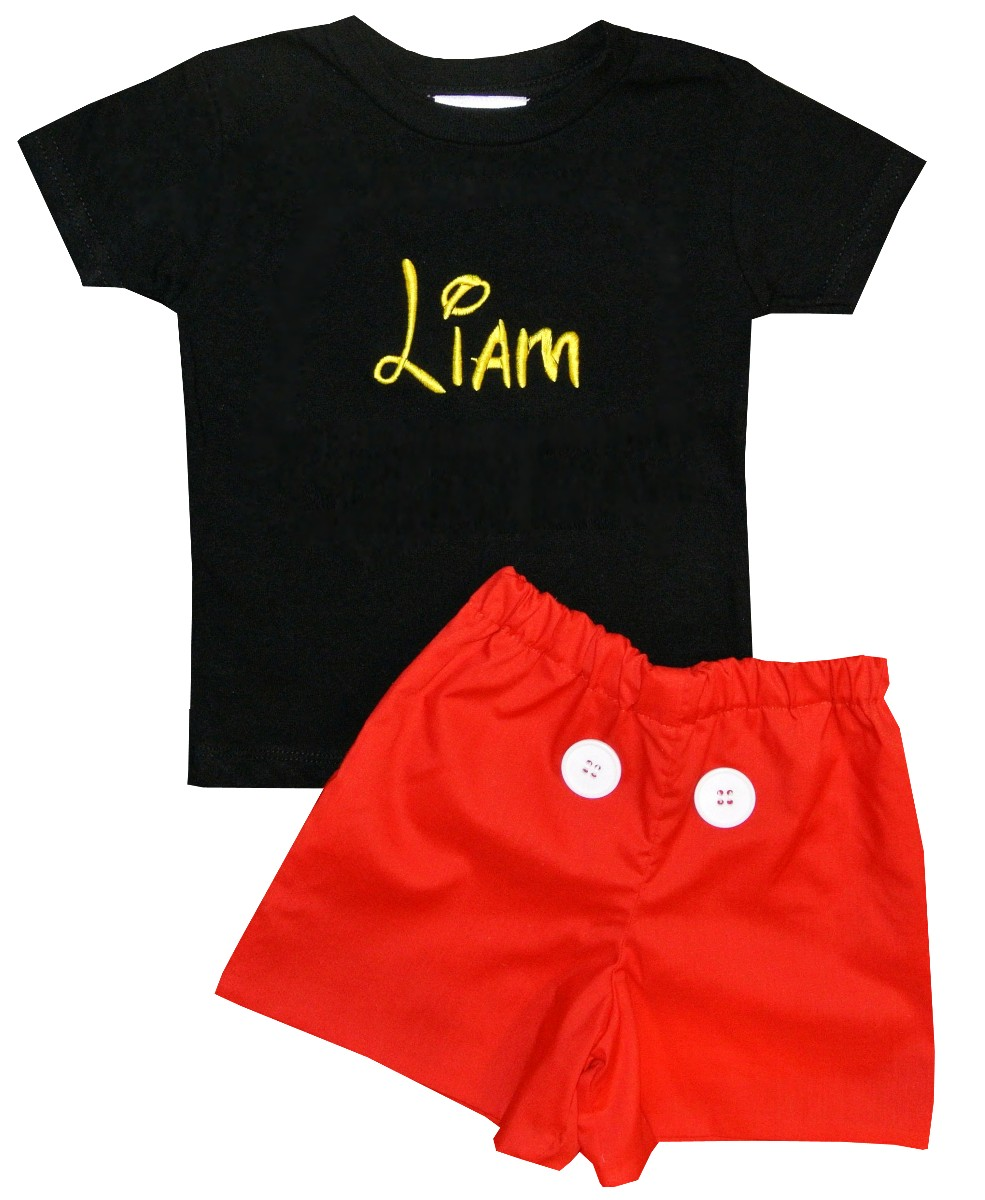 6f08096ec6df57 Personalized Mickey Mouse Black Shirt and Red Shorts or Pants Outfit