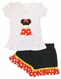 Personalized Minnie Mouse Split Body Ears Hat and Skirt with Name Outfit