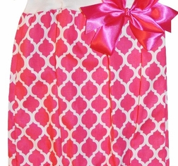 Personalized Monogrammable Baby Girl's Gown~Sleeper in Hot Pink Quatrefoil
