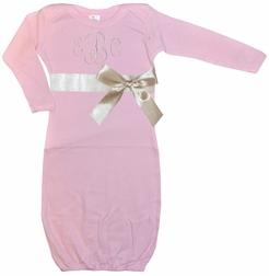Personalized Monogrammed Baby Girls Gown, Sack, Sleeper