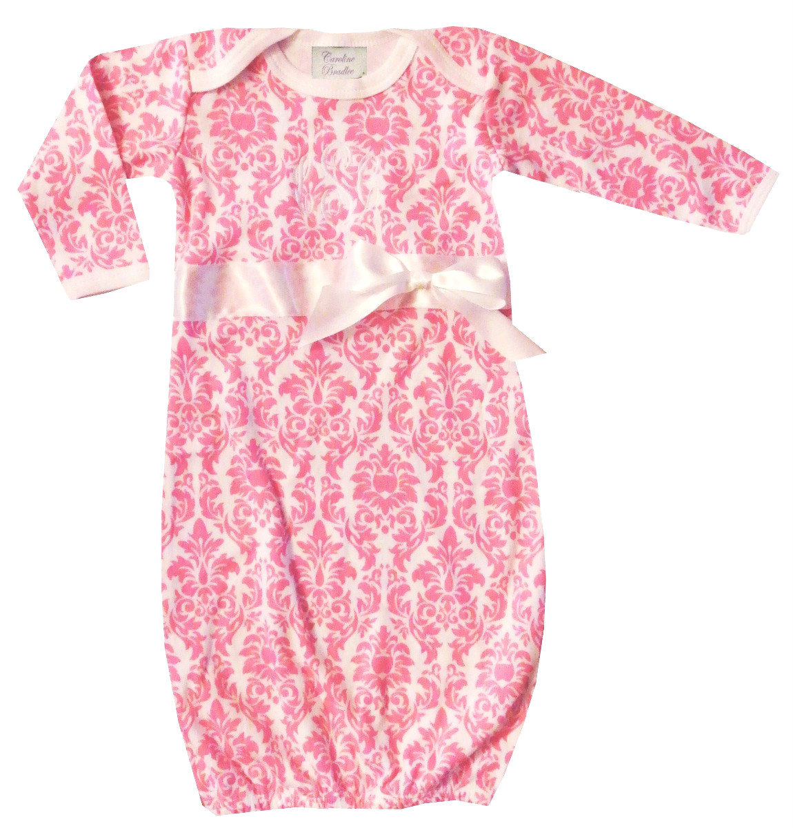 Monogrammed Baby Girl Infant Gown in Pink Damask with Optional ...