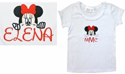 Personalized Peeking Minnie Mouse Ruffle Shirt and Big Dots Shorts or Capris with Ribbon