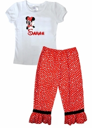 PERSONALIZED Posing MINNIE Mouse Shirt or Shirt and Red with White Polka Dots Ruffle Shorts or Pants