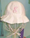 Personalized White Ruffle Brim Baby & Toddler Girl's Sun Hat