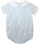 Baby Boy Light Blue Bubble Shortall with Pleats, Peter Pan Collar by Petit Ami.