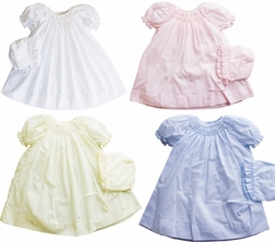 Petit Ami Baby Girl's Smocked Dress & Bonnet in White, Light Pink, Light Blue, Lavender or Yellow