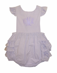 Petit Ami Girl's Lavender Gingham Cross Back Ruffle Bottom Bubble