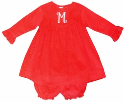 Petit Ami Monogrammable Red Corduroy Dress