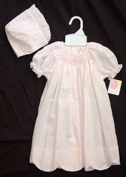 Petit Ami Girl's Scalloped Hem Smocked Day Gown in Light Pink