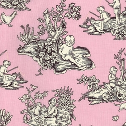 Pink and Brown Kids Toile by Michael Miller