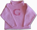 Monogrammed Children's Sweater In Pink & Hot Pink.
