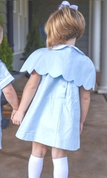 Posh Pickle Girl's Blue Linen Cape and Dress