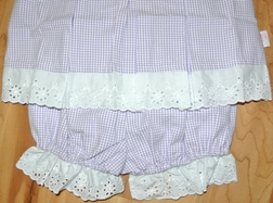 Posh Pickle Girl's Lavender Gingham Seersucker and Eyelet Top and Bloomers Set
