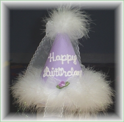 Happy Birthday Hat Hand Painted In 3 Colors.
