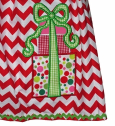 Custom Girl's Christmas Dress in Red Chevron with Appliqued Present