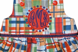 Custom Made Monogrammed Madras Dress Or Outfit
