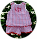 Custom Girl's Patriotic Red, White And Blue Gingham Outfit.