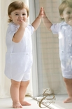 Rosalina Boy's Embroidered Christening Outfit Romper with Cross