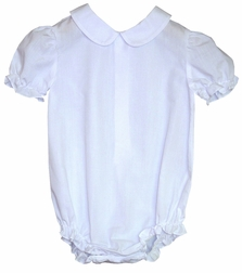 Girl's White Blouse, Body Suit with Short Sleeves by Rosalina