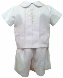 Boy's Embroidered Christening Outfit in Linen with Embroidered Cross