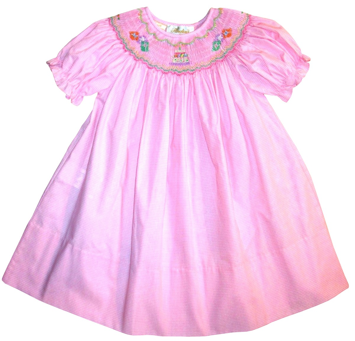 Girls Smocked Birthday Cake and Presents Pink Birthday Dress by