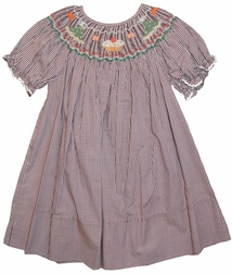 Girl's Smocked Birthday Dress in Brown & Fall Colors by Rosalina