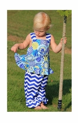 Girl's Royal Blue Lime Flowers & Chevron Dress or Outfit.