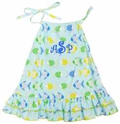 Monogrammable Fish Sundress with Don't Be Crabby fabric