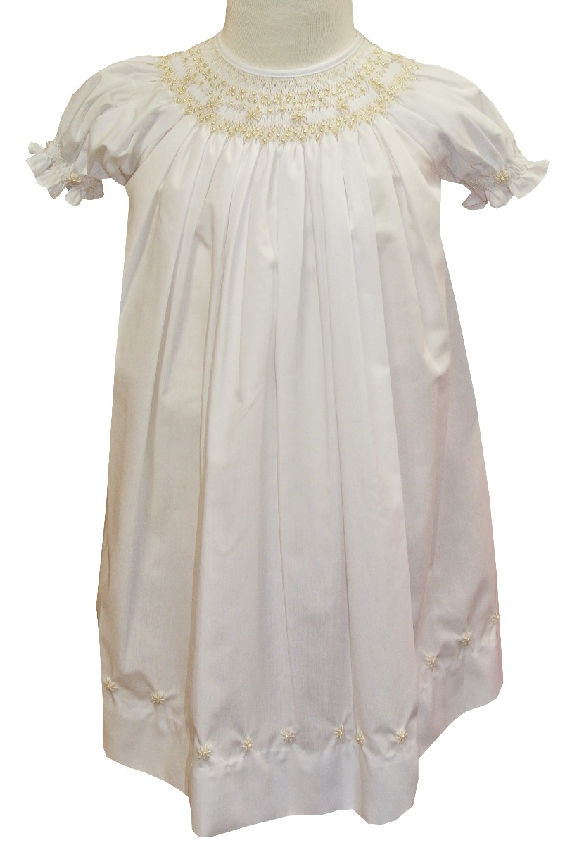 e6f7d1afe Girl's Smocked Dress in White with Ecru Pearls By Royal Child.
