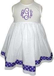 Girl's Beach Portrait Dress in White or Pink By Sarah Louise.