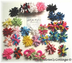 Girl's Hair Bows, Set of Korker Bows for Pony Tails
