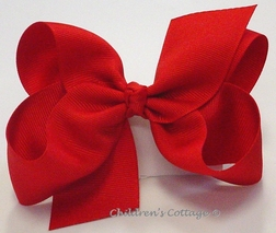 Girl's Hair Bow Made with Grosgrain Ribbon in Size Small.