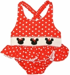 Smocked Minnie Mouse 1 Piece Swimsuit Bathing Suit in Red with White Dots