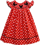 Smocked Minnie Mouse Dotted Dress with Black Ric Rac Trim