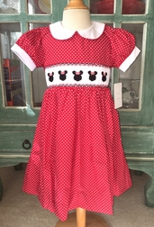 Le Za Me Smocked Minnie Mouse Dress in Red with White Dots