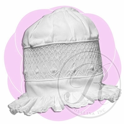 Smocked White Bonnet with Embroidered Bullions