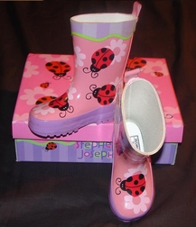 Girl's Ladybug Rainboots Galoshes By Stephen Joseph.