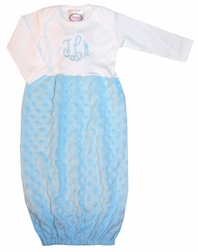 Minky Dots Baby Gown, Sleeper, Sack in Blue