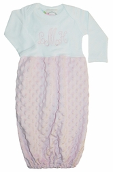 Baby Gown, Sleeper And Sack in Pink Minky Dots.