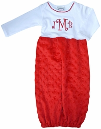 Baby Christmas Gown, Sleeper & Sack in Red Minky Dots