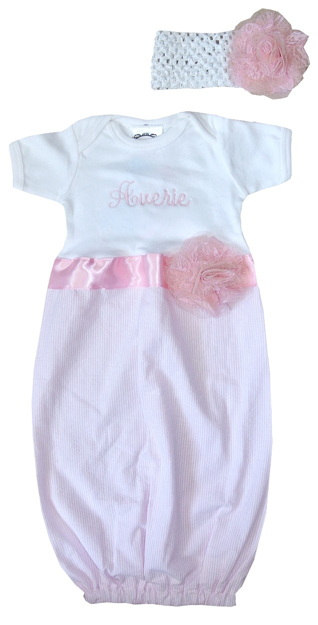 0f40b66d1a1be Personalized Infant Girl's Gown in Pink Seersucker